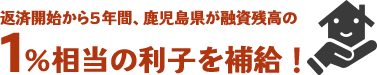 返済開始から5年間、鹿児島県が融資残高の1%相当の利子を補給!